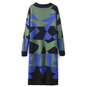 Color Block Shift Sweater Dress - GREEN ONE SIZE