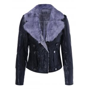 Faux Leather Collar Winter Biker Jacket with Fur Collar - Black - L