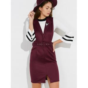 Bell Sleeve T-Shirt with Belted Bodycon Dress -