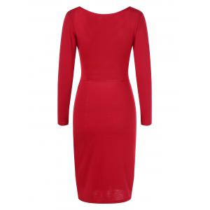 Cut Out Long Sleeve Fitted Midi Bandage Dress - RED S