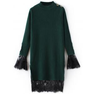Lace Panel Ribbed Layered Sweater Dress