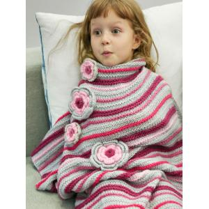 Stripe Crochet Sleeping Bag Wrap Mermaid Blanket For Kids - RED