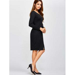 Single Breasted Knee Length Dress - BLACK XL