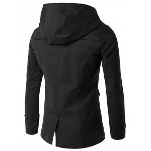 Lapel Collar Double Breasted Hooded Coat - BLACK XL