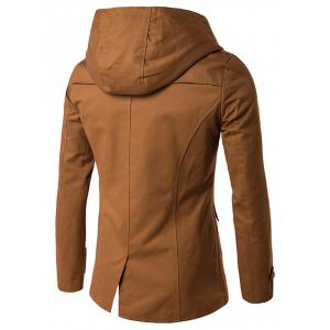 Lapel Collar Double Breasted Hooded Coat -