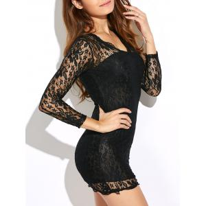 Long Sleeve Bodycon Lace Bandage Mini Dress - Black - S