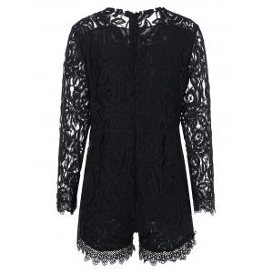 Plus Size Sheer Long Sleeve Lace Romper -
