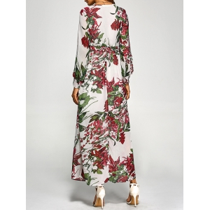 Chiffon Floral Long Sleeve Maxi Surplice Dress - WHITE S