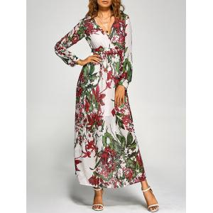 Chiffon Floral Long Sleeve Maxi Surplice Dress