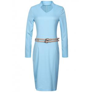 Long Sleeve Pencil Sheath Work Dress