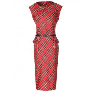 Sleeveless Checked Pencil Peplum Dress