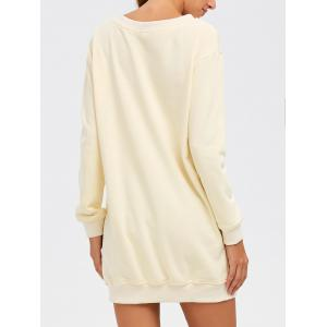 Casual Patterned Long Sweatshirt - OFF WHITE M