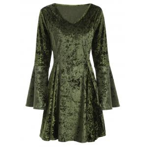 V Neck Bell Sleeve Velvet Fit and Flare Dress