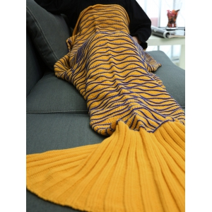 Warmth Wavy Line Design Knitted Mermaid Blanket -