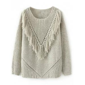 Ribbed Tassel Chunky Sweater