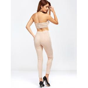 Faux Suede Tube Top and High Waisted Pants - NUDE PINK L