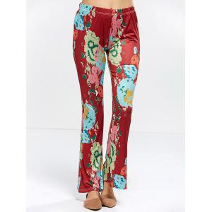 Floral Bell Bottom Pants - WINE RED XL