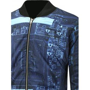 3D Printed Stand Collar Zip Up Padded Jacket -