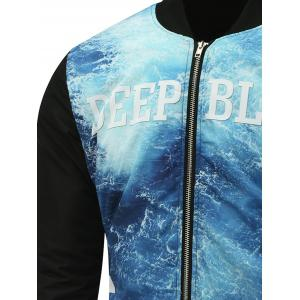 Stand Collar Seawater Print Zip Up Padded Jacket -