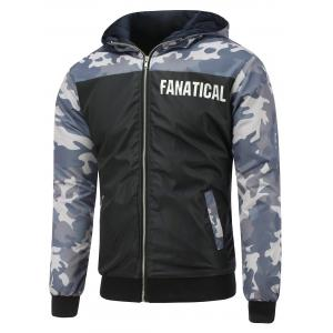 Camo Insert Hooded Zip Up Padded Jacket - Black - M