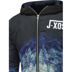 Forest Print Zip Up Hooded Padded Jacket - BLACK XL