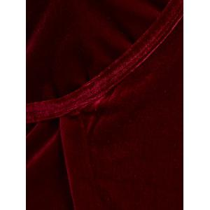 V Neck Velour Wrap Top - WINE RED ONE SIZE