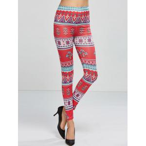Stretchy Printed Leggings - Rose Red - One Size