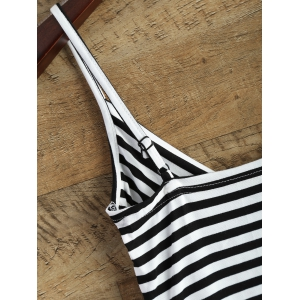 V Neck Striped Surplice Cami Top -