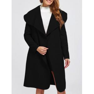 Shawl Collar Wool Blend Belted Wrap Coat - Black - M
