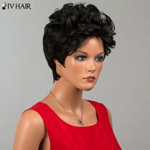 Siv Hair Short Shaggy Curly Human Hair Wig - JET BLACK