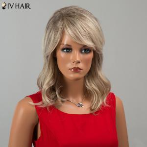 Siv Hair Medium Inclined Bang Wavy Human Hair Wig - COLORMIX