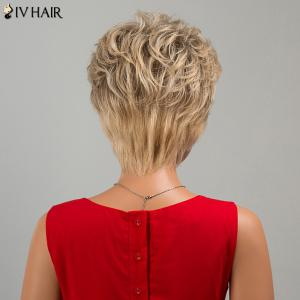 Siv Hair Short Fluffy Side Bang Slightly Curled Human Hair Wig -