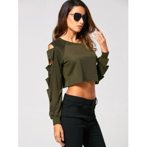 Long Sleeve Ripped  Cropped Sweatshirt - ARMY GREEN S