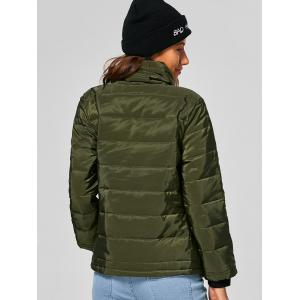 Self Tie Asymmetric Short Padded Down Jacket - ARMY GREEN XL