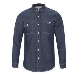 Back Pleated Pocket Chambray Button Down Shirt - Black - L