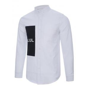 Pocket Back Pleated Graphic Button Down Shirt -