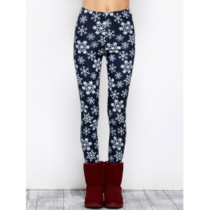 Snowflake Print Stretchy Christmas Leggings - Purplish Blue - S