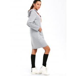 Long Sleeve Applique Hooded Dress -