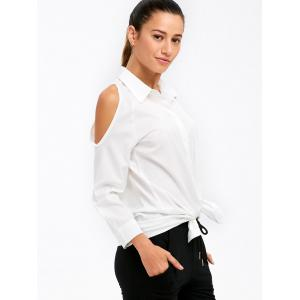 Buttoned Cold Shoulder Shirt - WHITE XL