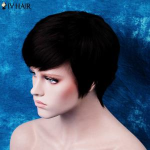 Siv Short Side Bang Silky Straight Human Hair Wig - JET BLACK
