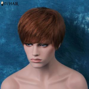 Siv Layered Short Side Bang Glossy Straight Human Hair Wig -