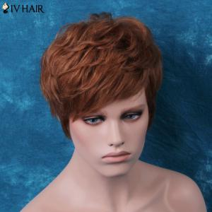 Siv Layered Short Side Bang Slightly Curled Human Hair Wig -