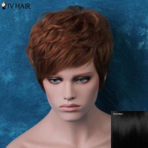 Siv Layered Short Side Bang Slightly Curled Human Hair Wig