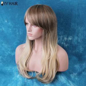 Siv Long Colormix Oblique Bang Slightly Curled Human Hair Wig -
