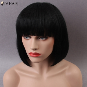 Siv Short Shaggy Full Bang Straight Bob Human Hair Wig - JET BLACK