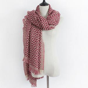 Winter Maze Pattern Knit Fringe Scarf -