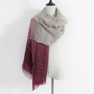 Winter Double Color Gradient Fringe Scarf - WINE RED