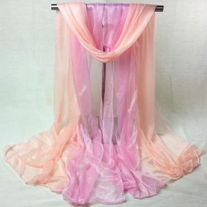 Outdoor Double Color Chiffon Long Scarf - Pink - One Size