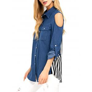 Cold Shoulder Striped Denim Shirt