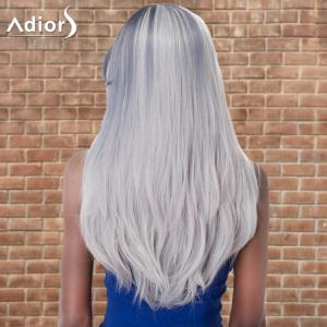 Adiors Long Oblique Bang Straight Cosplay Synthetic Wig - COLORMIX